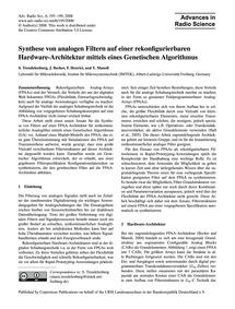 Synthese Von Analogen Filtern Auf Einer ... by Trendelenburg, S.