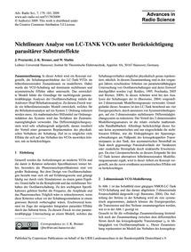 Nichtlineare Analyse Von Lc-tank Vcos Un... by Przytarski, J.