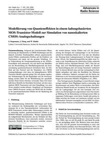 Modellierung Von Quanteneffekten in Eine... by Stegemann, S.