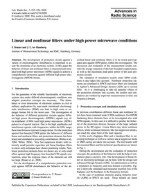 Linear and Nonlinear Filters Under High ... by Brauer, F.