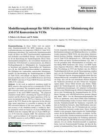 Modellierungskonzept Für Mos Varaktoren ... by Peikert, T.