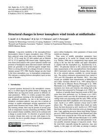 Structural Changes in Lower Ionosphere W... by Jacobi, C.