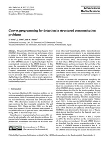 Convex Programming for Detection in Stru... by Morsy, T.