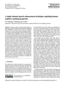 A Single Channel Speech Enhancement Tech... by Nsabimana, F. X.