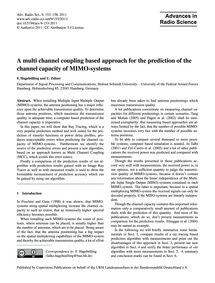 A Multi Channel Coupling Based Approach ... by Hagebölling, F.