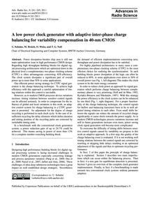 A Low Power Clock Generator with Adaptiv... by Schulze, U.