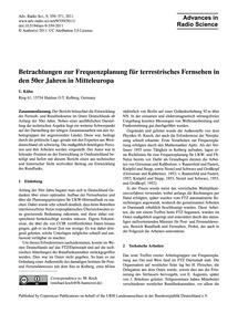Betrachtungen Zur Frequenzplanung Für Te... by Kühn, U.