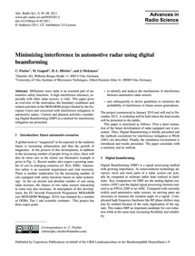 Minimizing Interference in Automotive Ra... by Fischer, C.