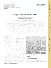 European Wind Variability Over 140 Yr : ... by Bett, P. E.