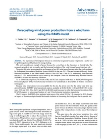 Forecasting Wind Power Production from a... by Tiriolo, L.