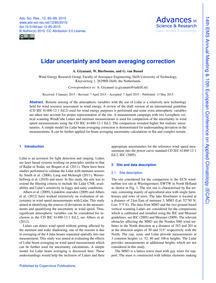 Lidar Uncertainty and Beam Averaging Cor... by Giyanani, A.