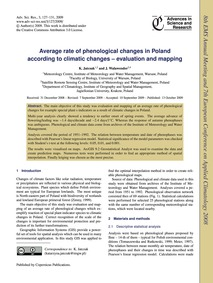 Average Rate of Phenological Changes in ... by Jatczak, K.