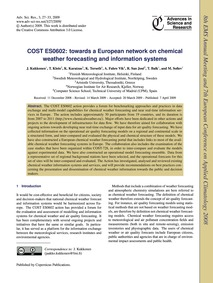 Cost Es0602: Towards a European Network ... by Kukkonen, J.