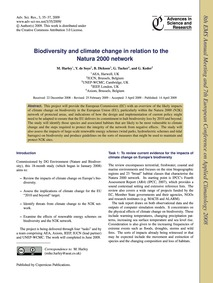 Biodiversity and Climate Change in Relat... by Harley, M.