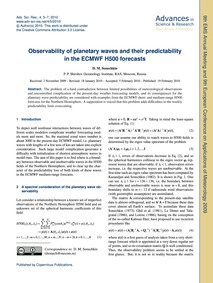Observability of Planetary Waves and The... by Sonechkin, D. M.