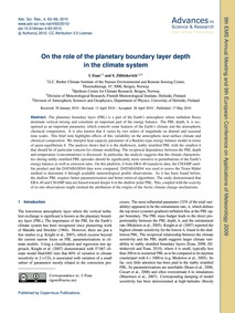 On the Role of the Planetary Boundary La... by Esau, I.