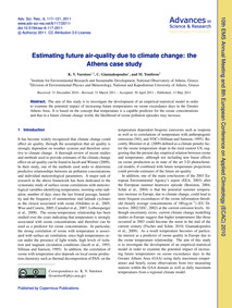 Estimating Future Air-quality Due to Cli... by Varotsos, K. V.