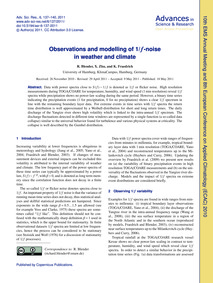 Observations and Modelling of 1/F-noise ... by Blender, R.