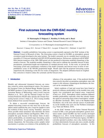 First Outcomes from the Cnr-isac Monthly... by Mastrangelo, D.