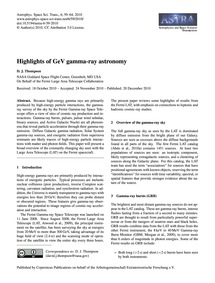 Highlights of Gev Gamma-ray Astronomy : ... by Thompson, D. J.