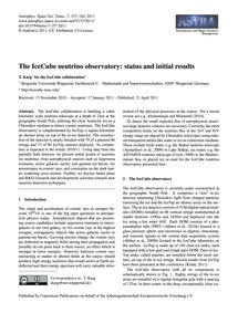 The Icecube Neutrino Observatory: Status... by T. Karg<Sup>1</Sup> for the Icecube Collaboration<...
