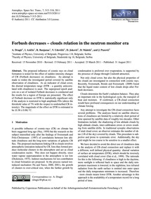 Forbush Decreases – Clouds Relation in t... by Dragić, A.