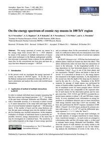 On the Energy Spectrum of Cosmic Ray Muo... by Novoseltsev, Yu. F.