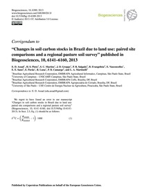 Corrigendum to Changes in Soil Carbon St... by Assad, E. D.