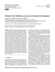 Technical Note: Methionine, a Precursor ... by Lenhart, K.