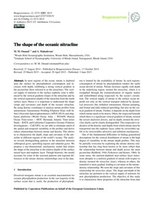 The Shape of the Oceanic Nitracline : Vo... by Omand, M. M.