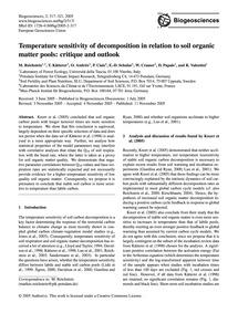 Temperature Sensitivity of Decomposition... by Reichstein, M.