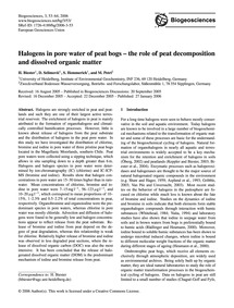 Halogens in Pore Water of Peat Bogs – th... by Biester, H.