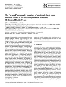 The Neutral Community Structure of Plank... by Dolan, J. R.