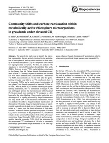 Community Shifts and Carbon Translocatio... by Denef, K.