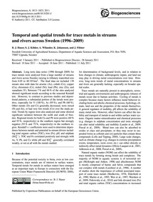 Temporal and Spatial Trends for Trace Me... by Huser, B. J.