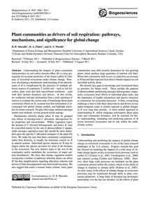 Plant Communities as Drivers of Soil Res... by Metcalfe, D. B.
