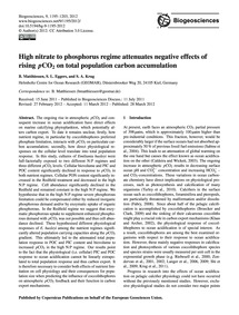 High Nitrate to Phosphorus Regime Attenu... by Matthiessen, B.