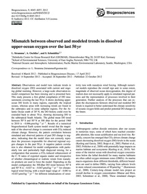 Mismatch Between Observed and Modeled Tr... by Stramma, L.