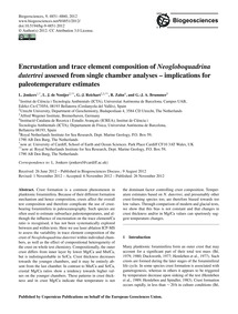 Encrustation and Trace Element Compositi... by Jonkers, L.
