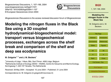 Modeling the Nitrogen Fluxes in the Blac... by Grégoire, M.