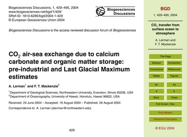 Co2 Air-sea Exchange Due to Calcium Carb... by Lerman, A.