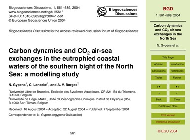 Carbon Dynamics and Co2 Air-sea Exchange... by Gypens, N.