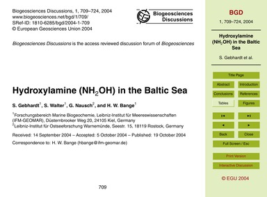 Hydroxylamine (NH2Oh) in the Baltic Sea ... by Gebhardt, S.