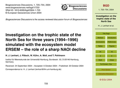 Investigation on the Trophic State of th... by Lenhart, H. J.