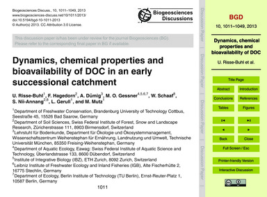 Dynamics, Chemical Properties and Bioava... by Risse-buhl, U.