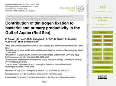 Contribution of Dinitrogen Fixation to B... by Rahav, E.