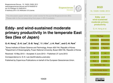 Eddy- and Wind-sustained Moderate Primar... by Hong, G.-h.