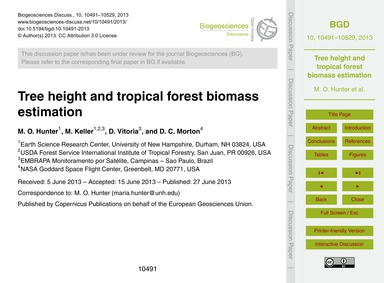 Tree Height and Tropical Forest Biomass ... by Hunter, M. O.
