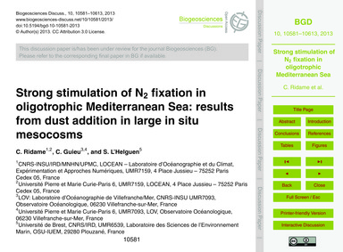 Strong Stimulation of N2 Fixation in Oli... by Ridame, C.