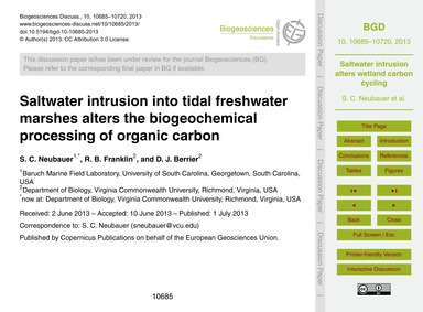 Saltwater Intrusion Into Tidal Freshwate... by Neubauer, S. C.